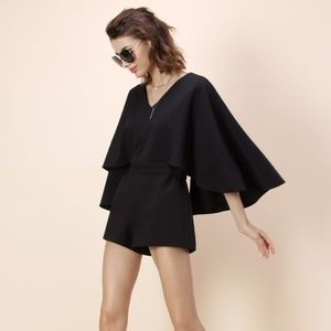 Black Chicwish Playsuit with Cape